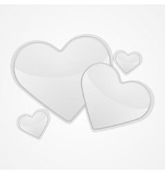 White hearts on a white background vector image vector image