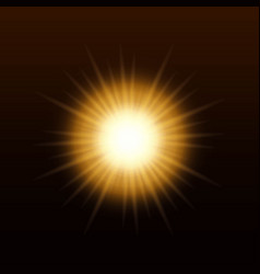 Yellow sun with rays and glow vector