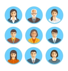 Asian business people simple flat avatars vector