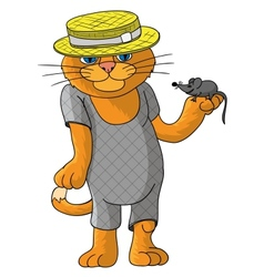 Hilarious cat in a straw hat vector