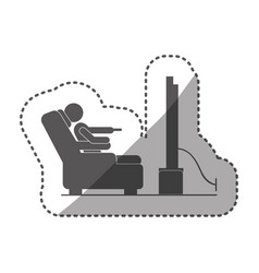 sticker black silhouette pictogram in chair vector image
