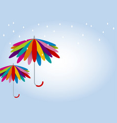 Colorful umbrella in rainy day with copy sp vector