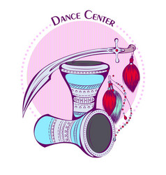 Dance line color tribal accessories vector