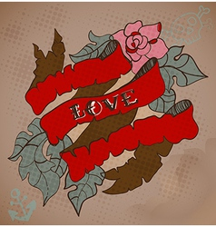 Old-school style tattoo card with flowers and vector image