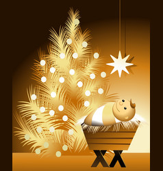 Christmas scene with baby jesus vector