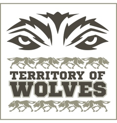 Retro ornament - running wolves and inscriptions vector
