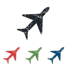 Plane grunge icon set vector
