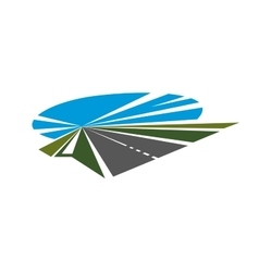 Highway with green roadsides and blue sky vector image