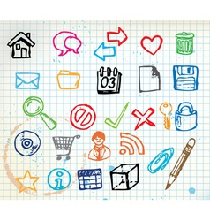 doodle web icons vector image