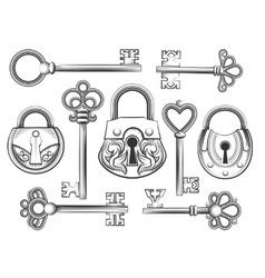 Hand drawn vintage key and lock set vector
