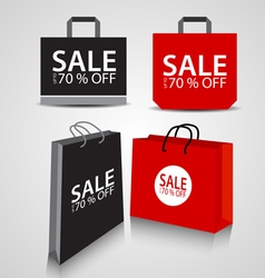 Shopping paper black and red bag vector