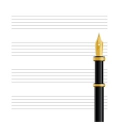 Musical staff and pen vector