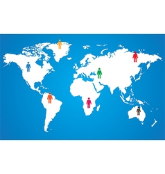 White world map on blue background wint pictogram vector