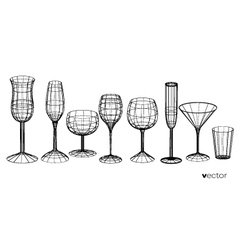 Set of glasses goblets in wireframe style vector
