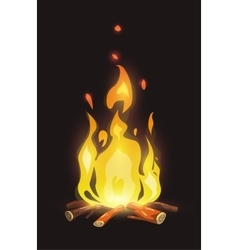 Cartoon bonfire on dark background vector