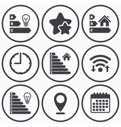 Energy efficiency icons lamp bulb and house vector
