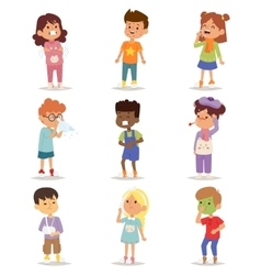 Sick children set vector