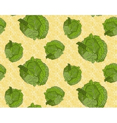Seamless background with cabbage vector