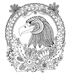 Zen tangle eagle round frame vector