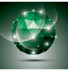 Abstract 3D emerald gala sphere with gemstone vector image