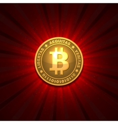 Bitcoin on red background vector