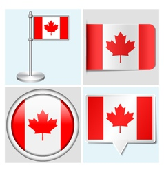 Canada flag - sticker button label flagstaff vector image vector image