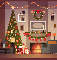 christmas and new year decoration of living room vector image