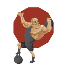 Circus strong man lift a weight vector image