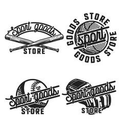 Color vintage sport goods emblems vector