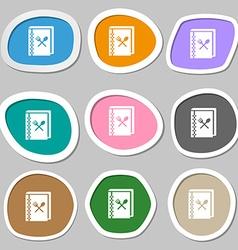 Cook book icon symbols multicolored paper stickers vector