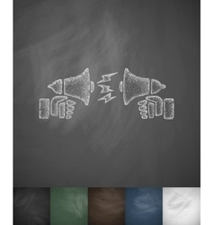 Dispute on the horns icon hand drawn vector