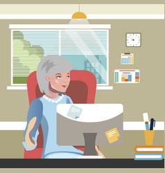 Elderly woman work on computer vector
