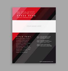 elegant red and black business flyer brochure vector image