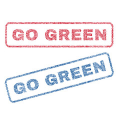 Go green textile stamps vector