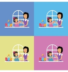Happy Easter Family Set Design vector image vector image