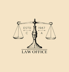 law office logo with scales of justice vector image vector image