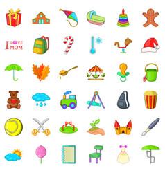Mom celebration icons set cartoon style vector