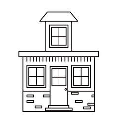 Monochrome silhouette house with small attic vector