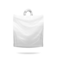 Plastic shopping bag white empty realistic vector