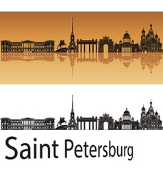 Saint petersburg skyline in orange background vector