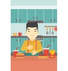 Satisfied man eating fast food vector
