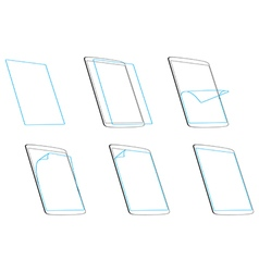 Set apply screen protector outline contour icons vector image vector image