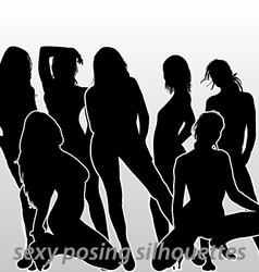 sexy posing silhouettes vector image