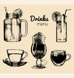 Soft drinks and glasses for barrestaurantcafe vector