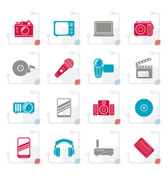 stylized media and technology icons vector image vector image
