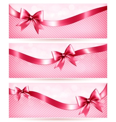 Three pink holiday banners with gift glossy bow vector image vector image