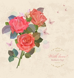 vintage invitation card with bouquet of roses with vector image vector image