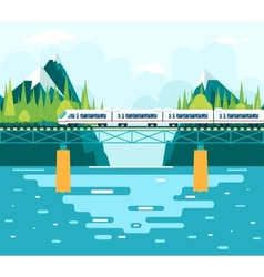 Wagons on bridge over river tourism and journey vector