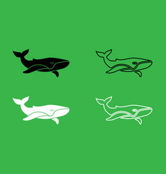 whale icon black and white color set vector image