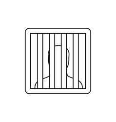 Prisoner behind bars icon outline style vector image